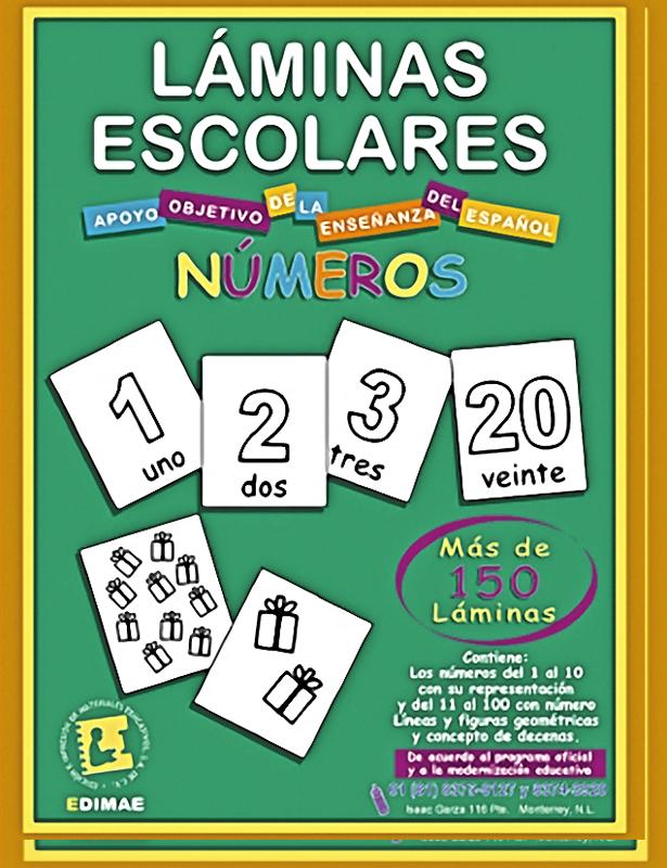 Láminas escolares de palabras y números